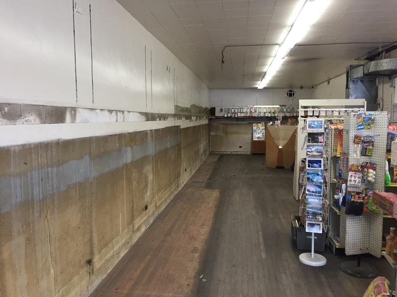 The wall where magazine racks and other merchandise were displayed for decades are now torn down. Mario's which closed over the weekend, will be renovated and reopened as a new business.