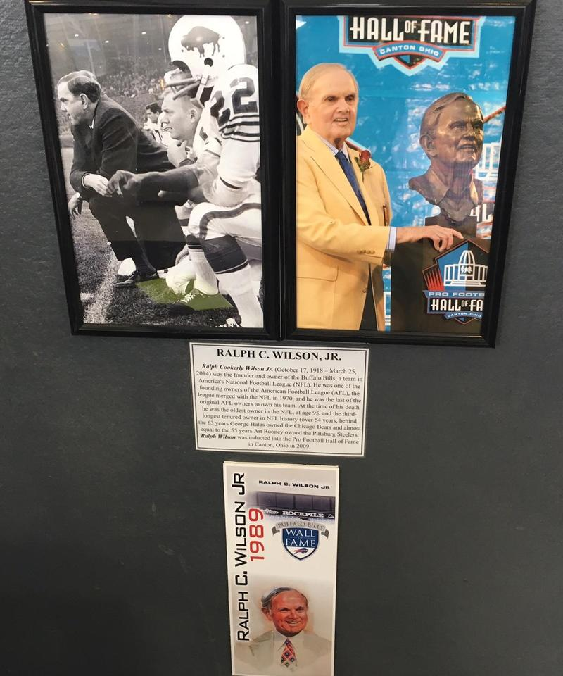 Photos of Ralph C. Wilson from his career as founder and owner of the Buffalo Bills are on display at the Buffalo & Erie County Military & Naval Park