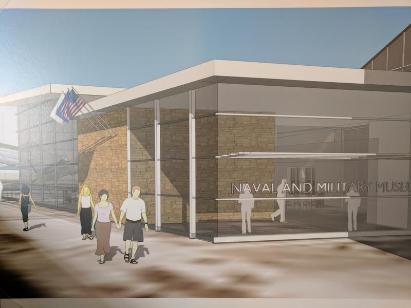 The LCDR Ralph C. Wilson, Jr. display is currently on display, and will be housed in the future hall of honor at the naval park, showin in this rendering
