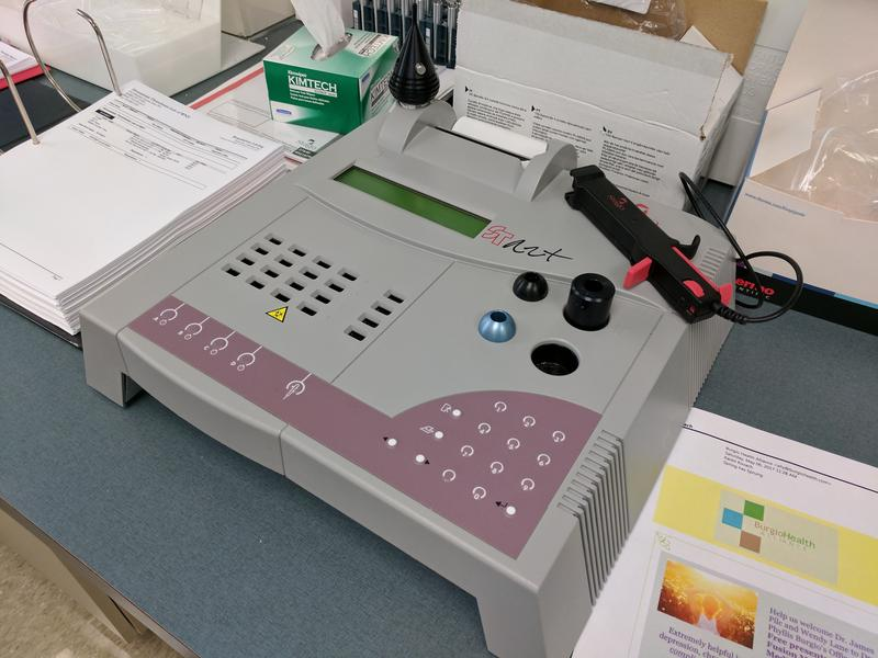 Manual analysis equipment in the lab at the Hemophilia Center of Western New York