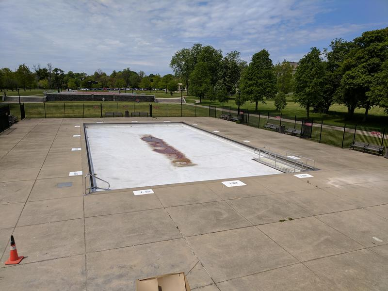 The MLK park casino building overlooks an unused wading pool.