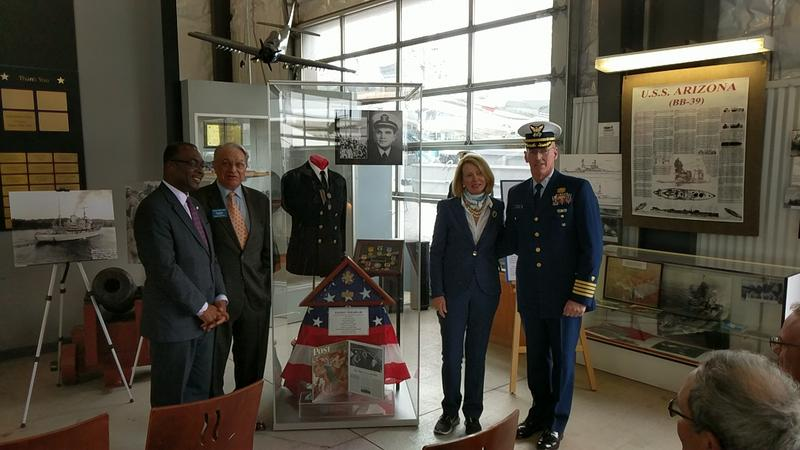 (From left) City of Buffalo Mayor Byron Brown, Naval Park Board Chairman Don Alessi, Mrs. Mary Wilson, & Naval Park Executive Director Captain Brian Roche
