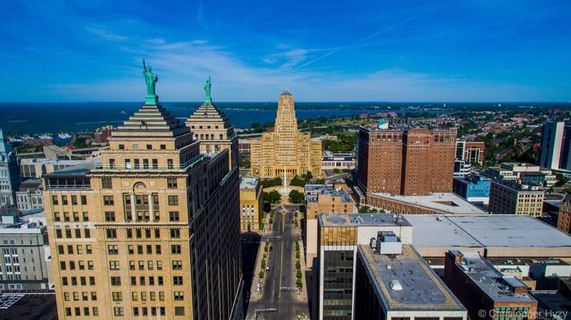 Downtown Buffalo, viewed through a drone's camera