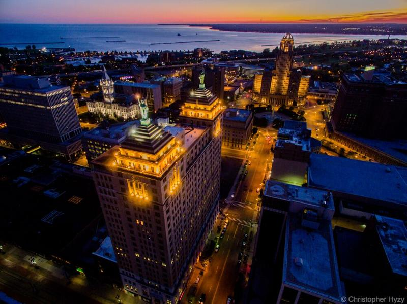 Downtown Buffalo lights up as the sun sets.
