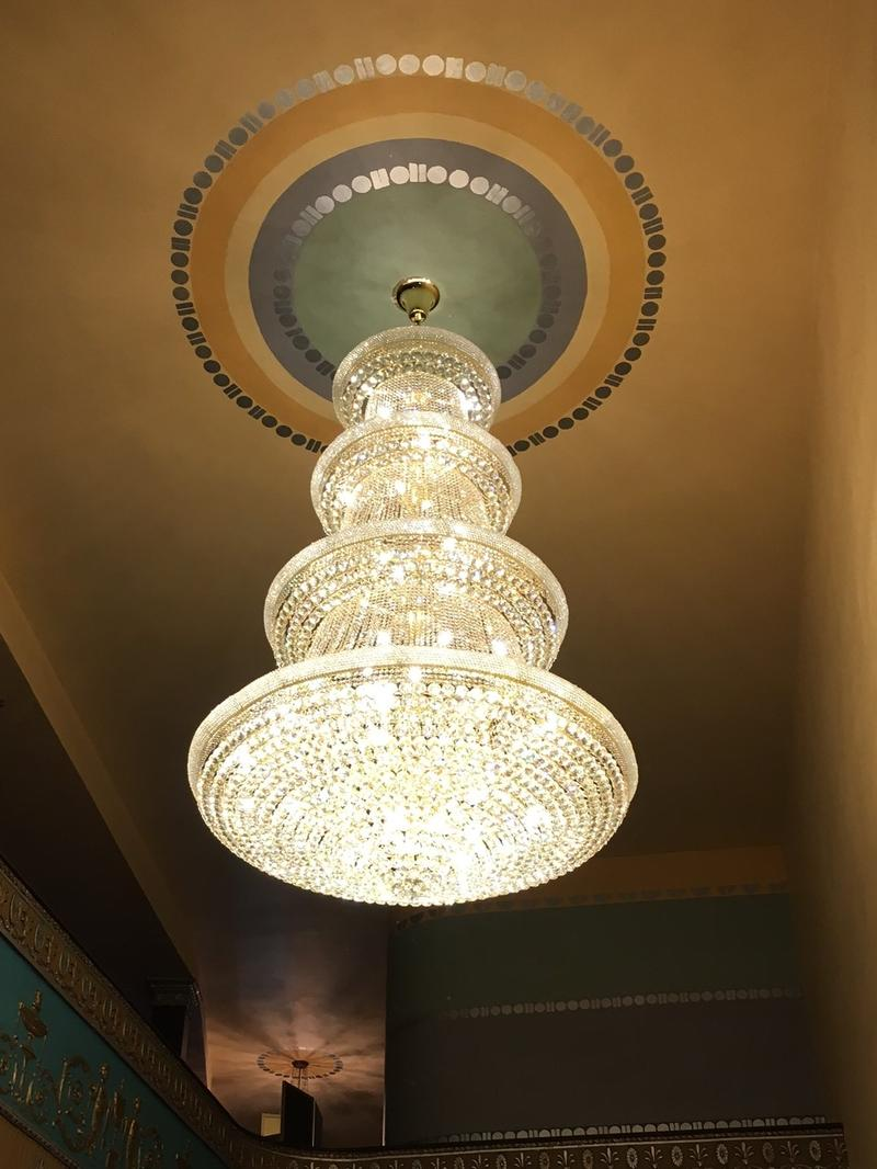 It took more than a week to hang on the crystals on the new chandelier in the lobby