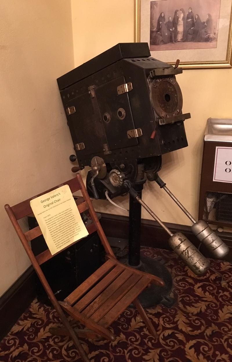 An old style spotlight is among the memorabilia on display throughout the theatre