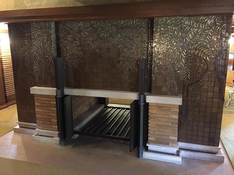 A look at the fireplace unveiled Friday, June 2, inside the Darwin Martin House. The fireplace represents the final significant project in a $50 million restoration project that began 25 years ago.