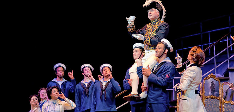 "Laurie Murdoch (upper) as Sir Joseph Porter in ""HMS Pinafore."""