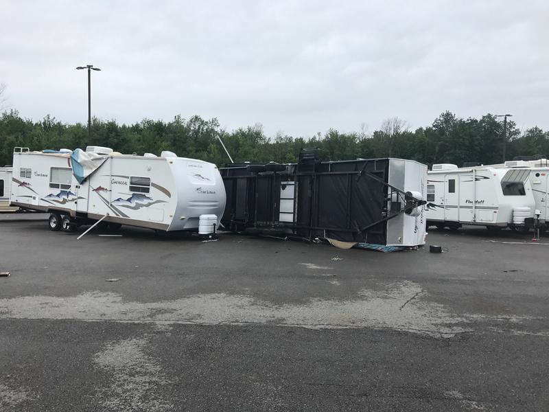 Storm damage at Camping World in Hamburg