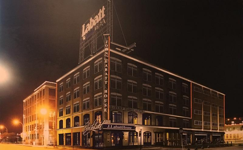 Photo of a rendering of the future Labatt headquarters and pub in Buffalo's Cobblestone District