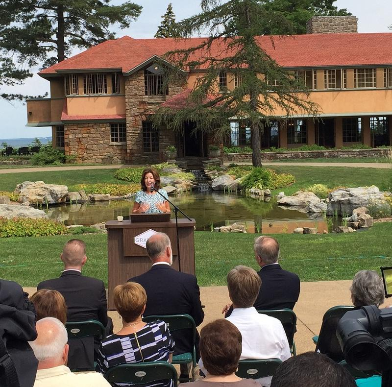 Lieutenant Governor Kathy Hochul speaks during a news conference Monday, during which it was announced the Graycliff Conservancy will receive $3.7 million from Buffalo Billion II to complete a longtime restoration project.