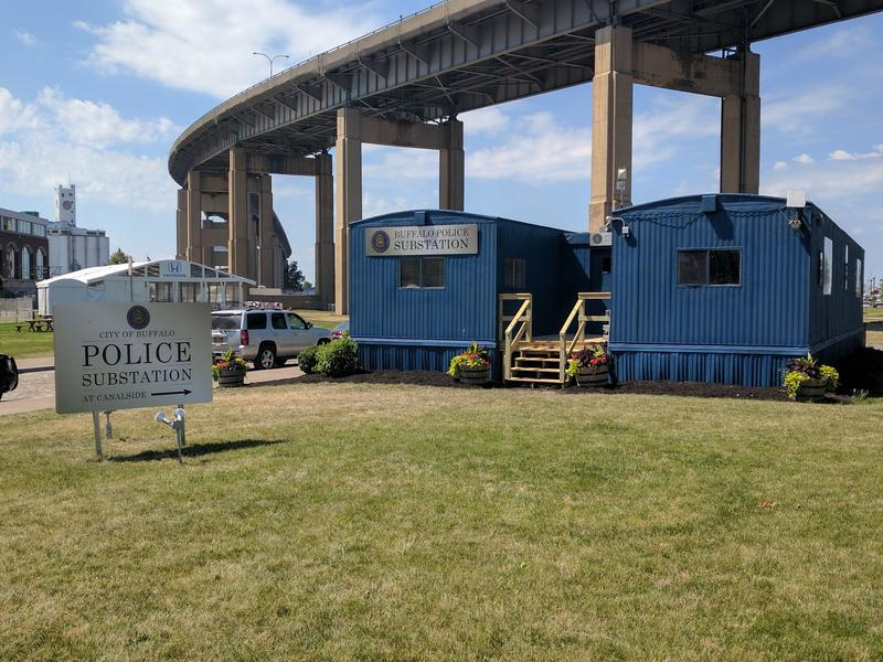 The City of Buffalo's temporary police substation in the heart of the Canalside area