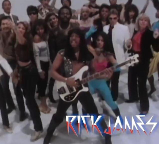 "Rick James in his classic ""Super Freak"" video."