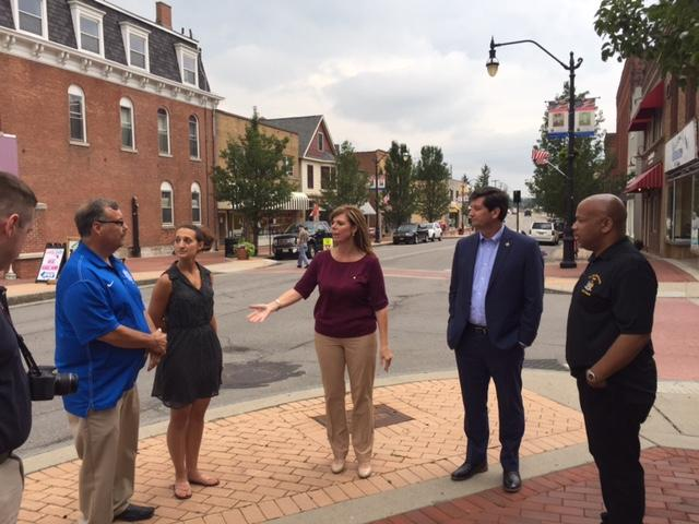 Heastie and officials on walking tour of Lancaster.