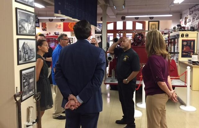 Assembly Speaker Carl Heastie (second from right) tours the Greater Lancaster Museum of Firefighting.