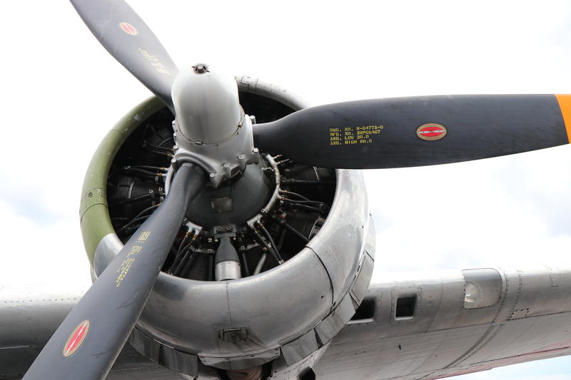 One fo the four engines on the B-17