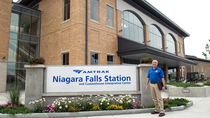 Bruce Becker outside the Niagara Falls Amtrak Station