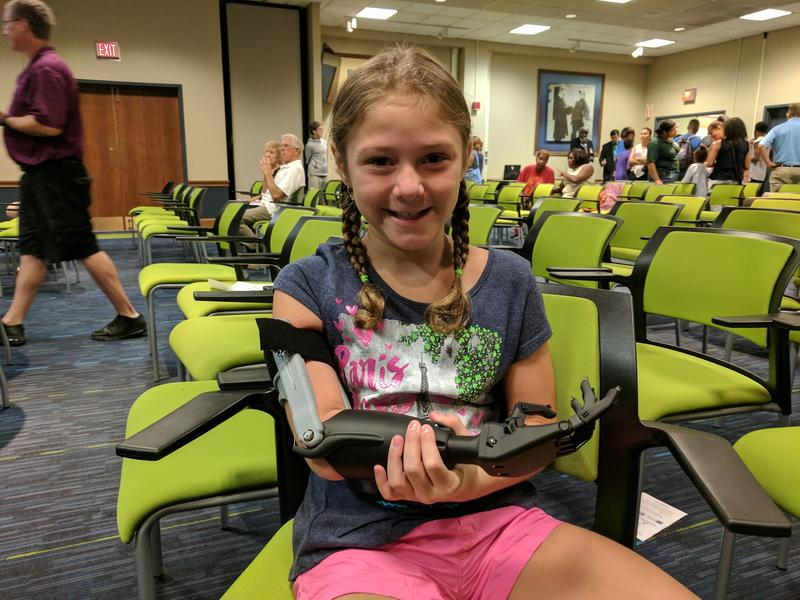 Katelyn McCarthy and her new 3D-printed prosthetic hand
