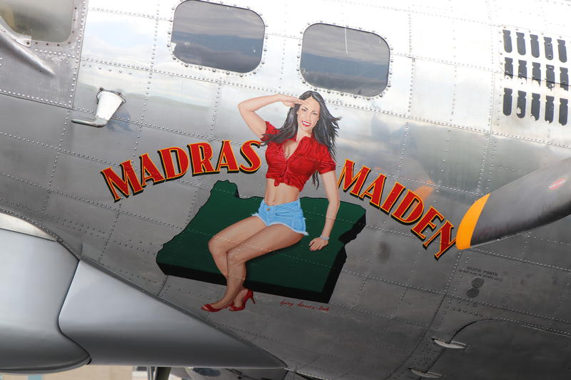 """The """"Madras Maiden"""" name and logo honors the team that helped rebuild the plane in Madras, Oregon."""
