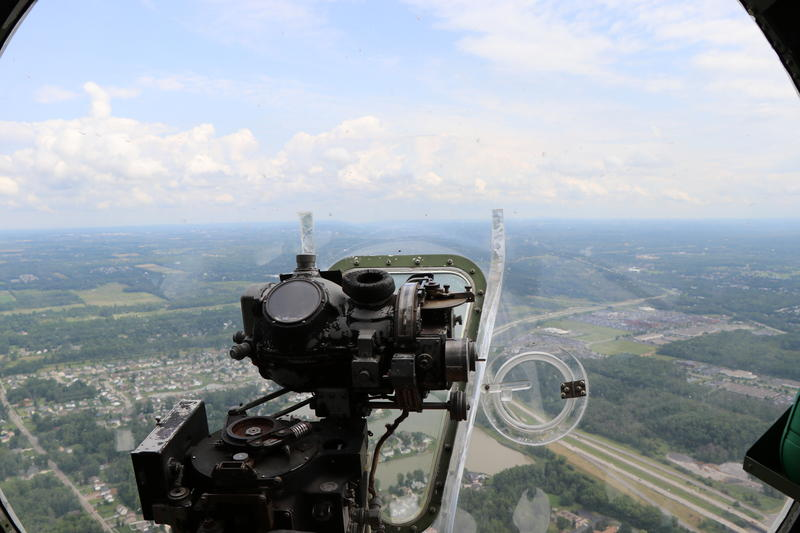 A Norden bombsight in the clear nose of the B-17 would have been used to help the plane zero in on enemy targets