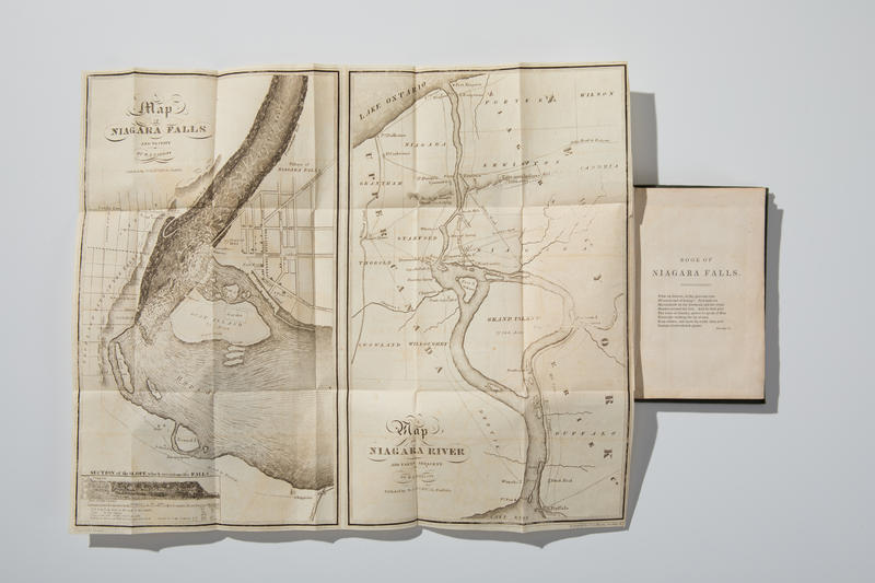 A map and tour book of Niagara Falls printed in the early 1800s is among the numerous volumes recently acquired by the University at Buffalo.
