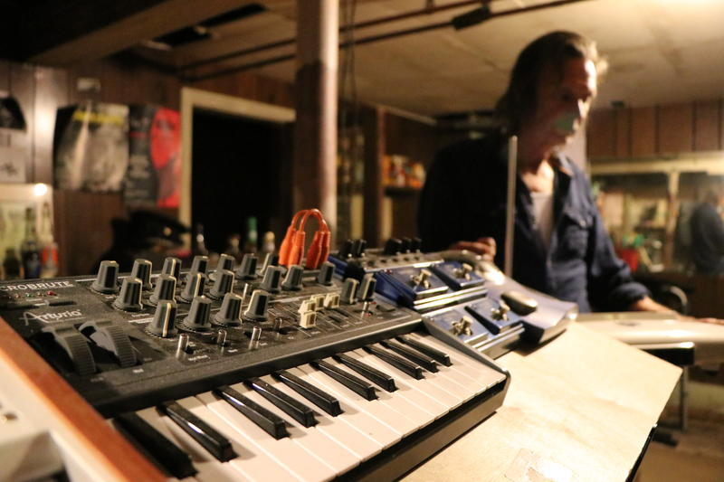 David Kane in his basement studio.