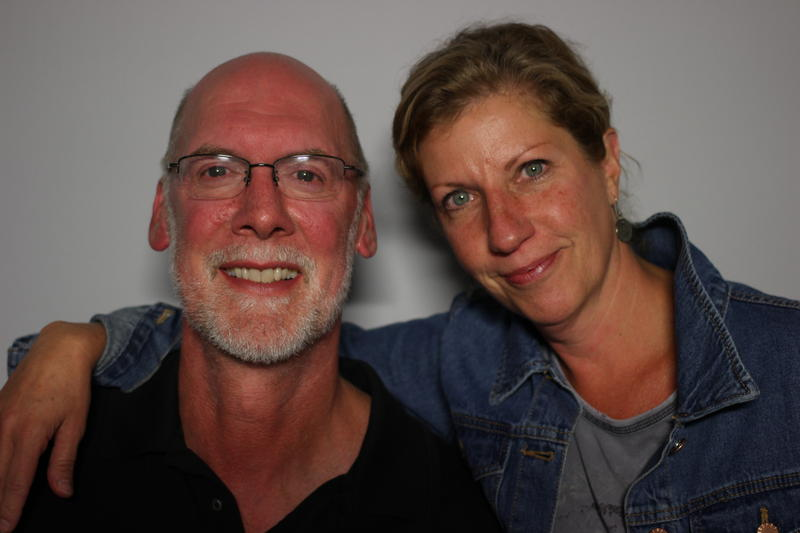Patrick Mahony and Julia Hall at the StoryCorps Buffalo mobile tour booth in September 2016.