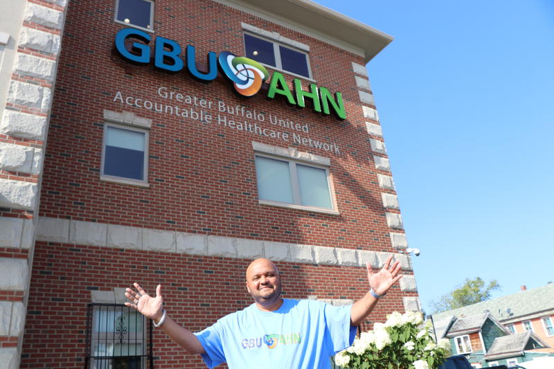Dr. Raul Vazquez stands in front of the GBUAHN facility on Niagara Street