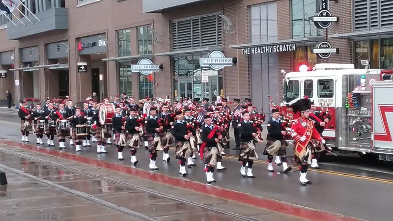 """Bagpipers played """"You're a Grand Old Flag"""" as part of the procession"""