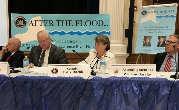 At the Mexico Academy High School, Assemblymember Bob Oaks, State Sen. Tom O'Mara, State Sen. Patty Ritchie and Assemblymember Will Barclay listen to testimony about the flooding along Lake Ontario this year.