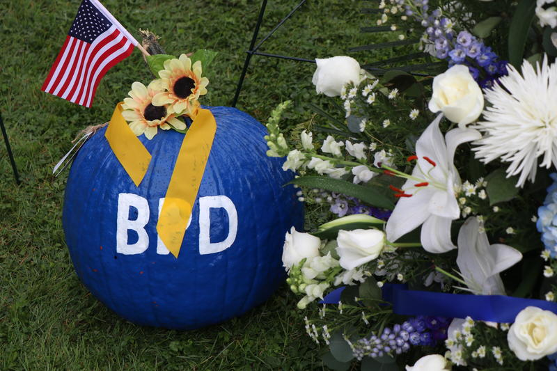 In the spirit of the October season, a pumpkin painted is painted blue to honor Craig Lehner