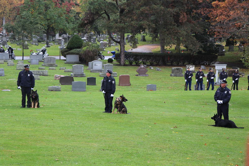 Members of the Buffalo Police Department's K-9 Unit prepare for the arrival of Craig Lehner's funeral procession