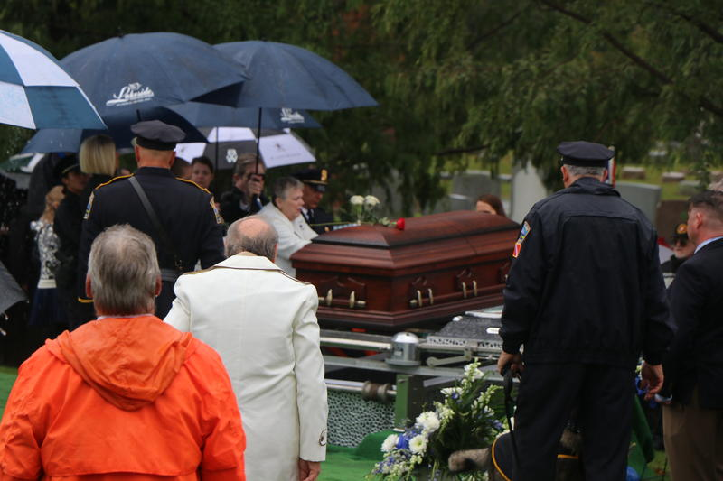 Craig Lehner's mother was the first to make a final farewell at the side of her son's casket