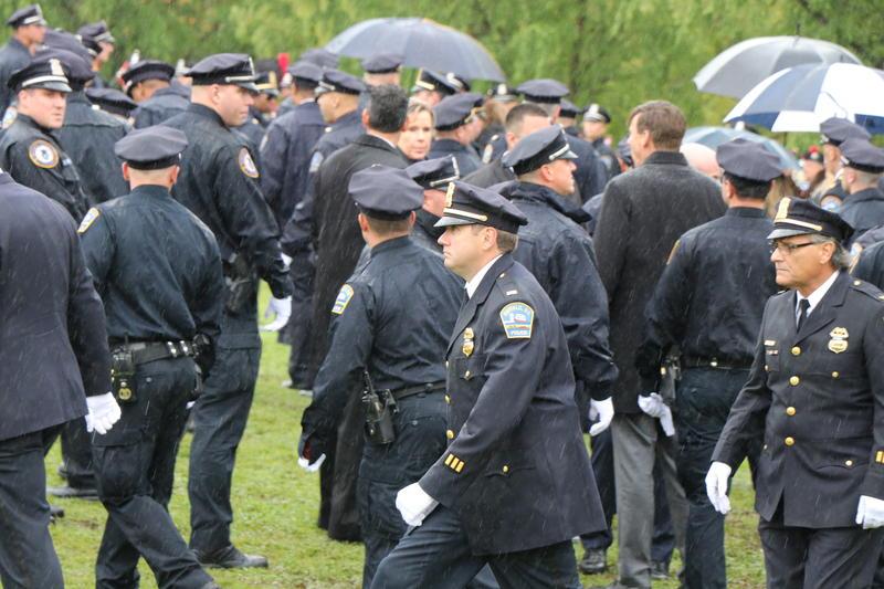 Buffalo Police Lieutenant Jeff Rinaldo was among the many officers on hand to bid Craig Lehner goodbye