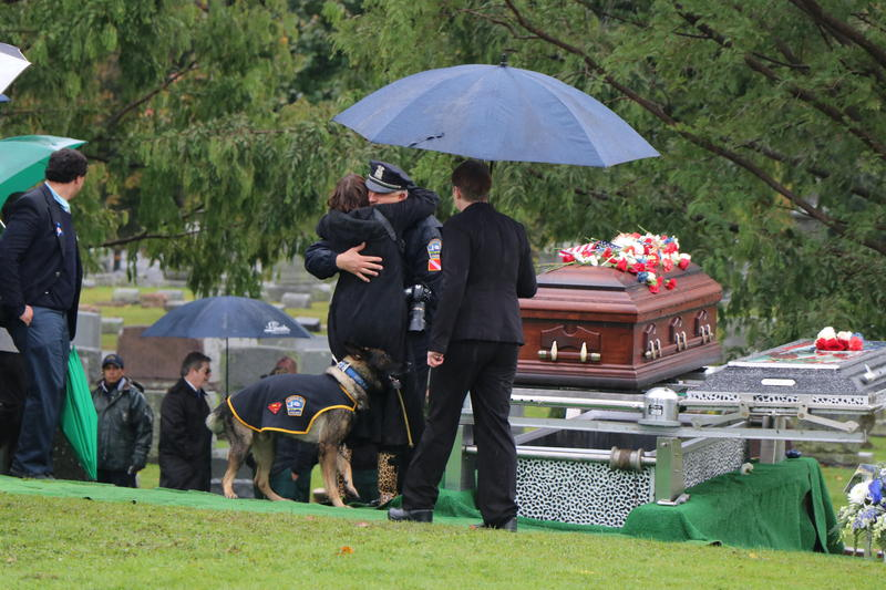 Wearing a ceremonial cape with the emblem of the Buffalo Police and Superman, K-9 Shield nuzzles mourners by the casket of Craig Lehner