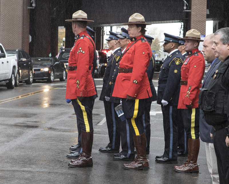 Canadian Mounties were among the officers paying tribute