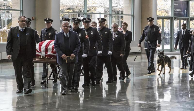 Lehner's casket being brought inside KeyBank Center