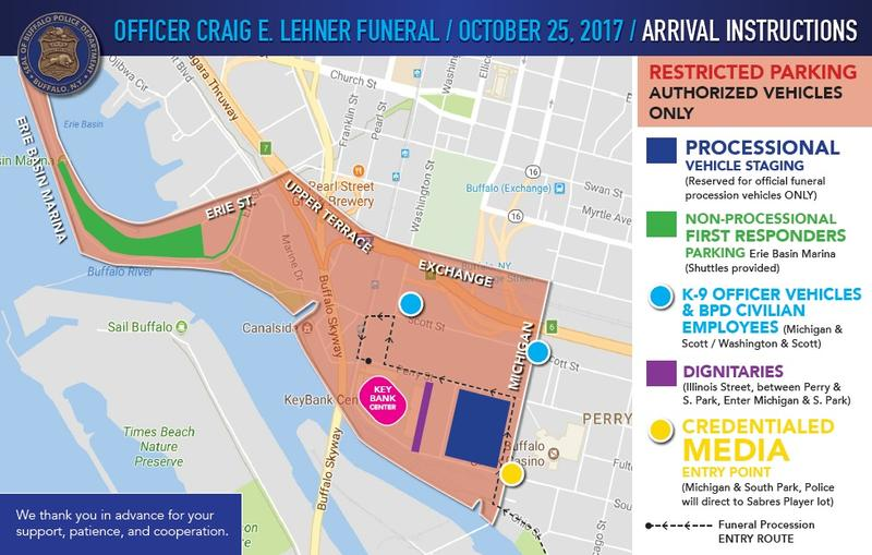 The colored section of this downtown Buffalo map shows where traffic will be closed to the general public beginning at 6 a.m. Wednesday, for purposes of staging and parking related to Officer Craig Lehner's Funeral.