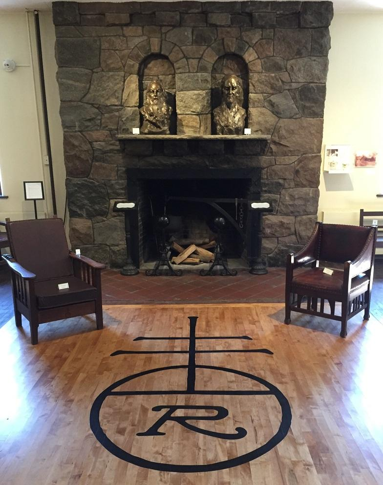 The fireplace inside the new museum on the Roycroft Campus. The busts above the hearth are of Walt Whitman and Henry David Thoreau, two of Elbert Hubbard's literary heroes.