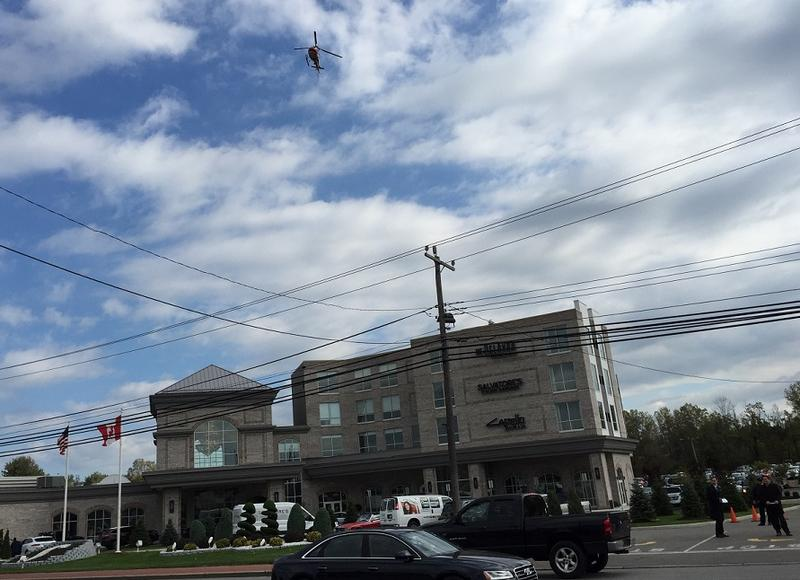 Vice President Pence's first appearance was at a lunch-hour fundraiser for Congressman Chris Collins. The Erie County Sheriff's Air One watched from above shortly before the motorcade - and protesters - arrived outside Salvatore's Italian Gardens.