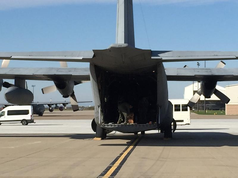 Cargo was being loaded Thursday morning aboard one of the aircraft that left Niagara Falls for Puerto Rico hurricane relief. This C-130 was with the Puerto Rico National Guard.
