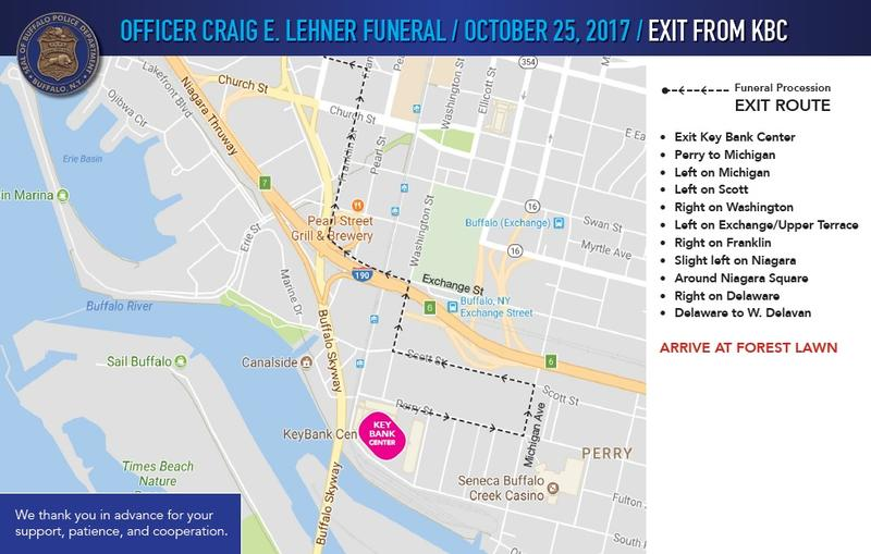 This map shows the first stage of the procession route from KeyBank Center, where Buffalo Police Officer Craig Lehner's funeral will take place, to Forest Lawn Cemetery.