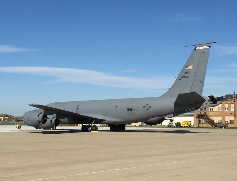 A KC-135 from the New Hampshire National Guard prepares to depart from Niagara Falls Air Reserve Station on Thursday, as part of the hurricane relief effort in Puerto Rico.