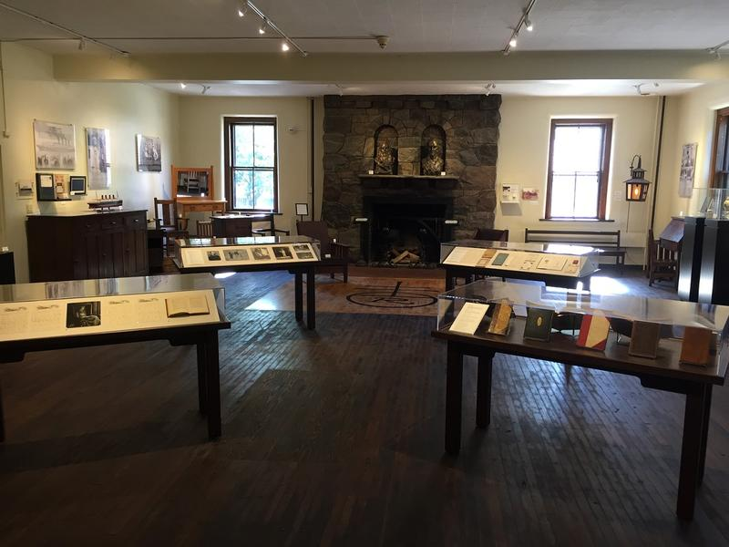 A view across the museum room on the Roycroft Campus. It is located inside the Print Shop building.