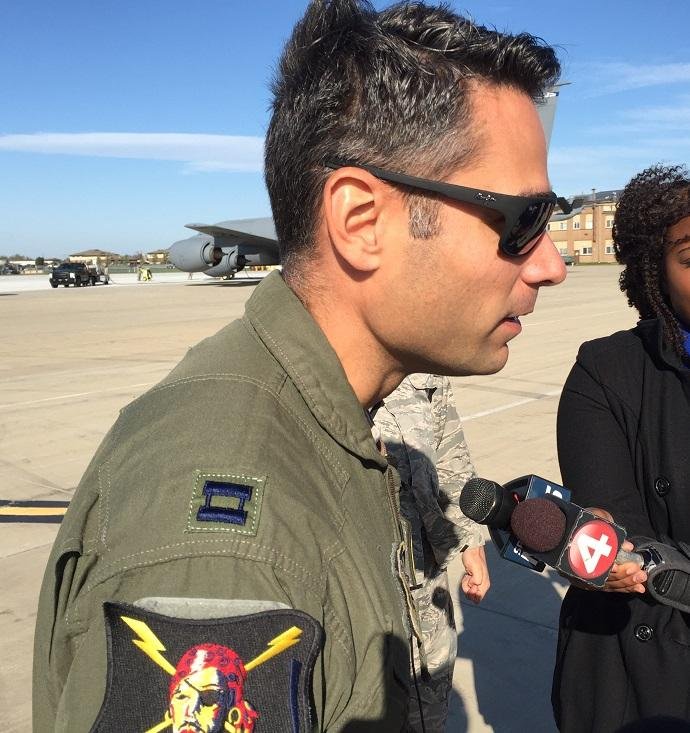 Captain Mario Ibarra, a pilot with the Puerto Rico National Guard, speaks before leaving Niagara Falls to carry hurricane relief supplies to the U.S. territory, which is still devastated by the effects of Hurricane Maria.