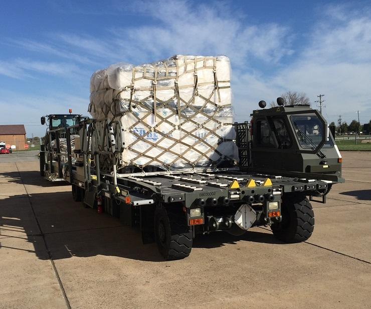Supplies awaiting loading aboard an aircraft that will take them to Puerto Rico.