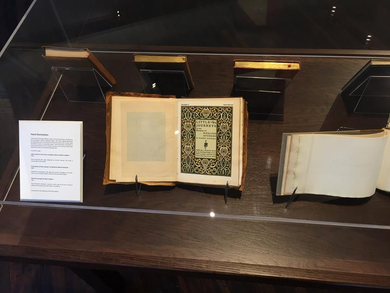Some of the printed works on display in the newly opened Roycroft Museum, located on the East Aurora campus.