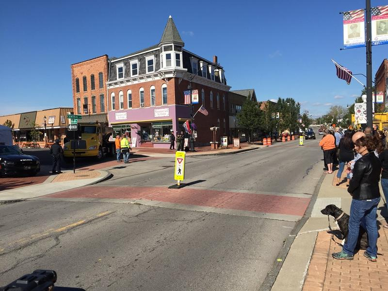 Central Avenue in the Village of Lancaster is closed to traffic, while friendly bystanders await the arrival of Vice President Pence's motorcade on Tuesday afternoon.