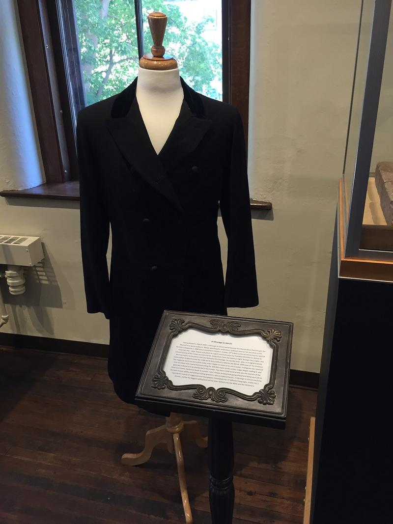 Elbert Hubbard's jacket, one of the artifacts available for viewing inside the Roycroft Museum.