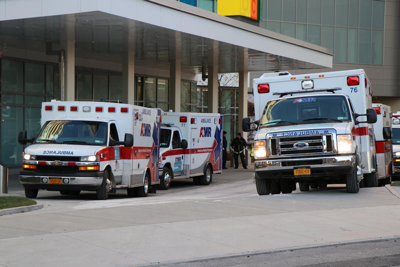 Ambulances remain lined up after transporting patients to the new Oishei Children's Hospital.
